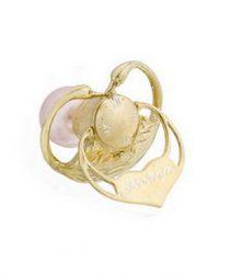 Złocony srebrny smoczek Swarovski różowy/niebieski - pamiątka dla dziecka na długie lata